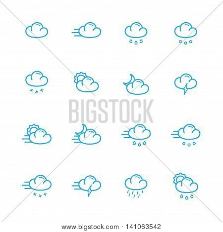 Weather icons meteo blue line icons set