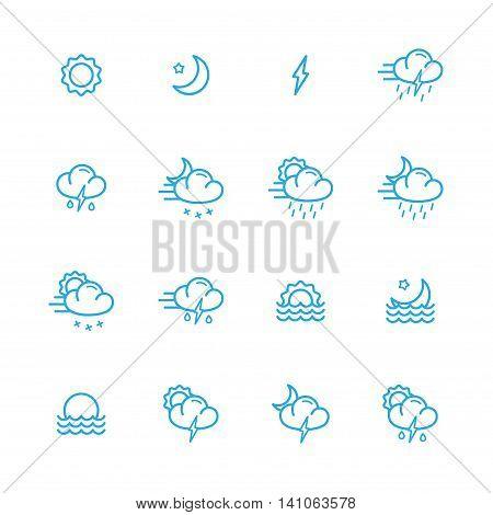 meteo blue line icons set of 16
