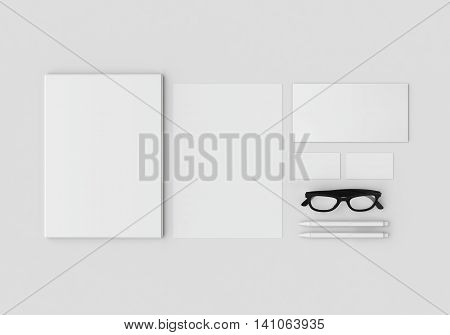 Base white stationery mock-up template for branding identity on gray background in weightlessness with long shadow. For graphic designers presentations and portfolios. 3D rendering.