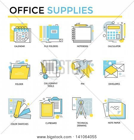 Office supplies icons, thin line, flat design