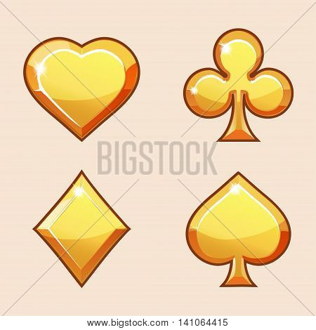 Vector set illustration of gold icons of playings cards, isolated on the white background. Series of Gaming and Gambling Illustrations