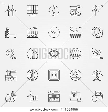 Alternative energy icons. Vector set of renewable energy concept symbols or logo elements in thin line style