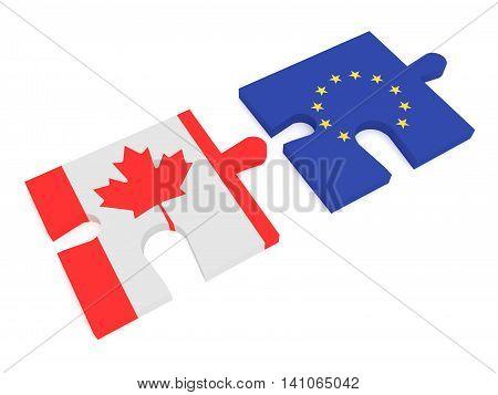 Partnership Canada and EU: Puzzle Pieces Canadian flag and EU Flag 3d illustration