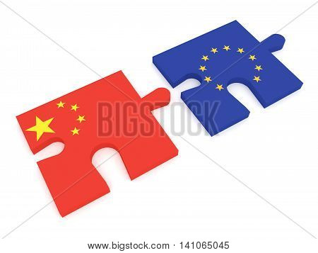 Partnership China and EU: Puzzle Pieces Chinese flag and EU Flag 3d illustration