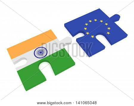 Partnership India and EU: Puzzle Pieces Indian flag and EU Flag 3d illustration