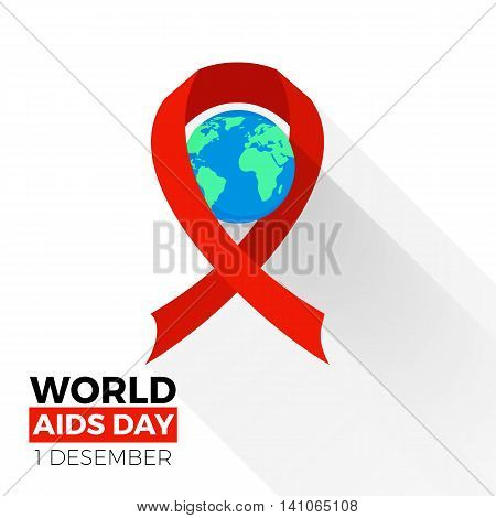 World aids day icon. Earth sphere with the red ribbon loop around, colorful vector flat illustration
