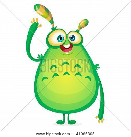 Vector cartoon alien says Hallo. Green slimy alien monster with tentacles. Happy Halloween green monster waving. Monster character icon or logo great for animation. Fat green and yellow monster.