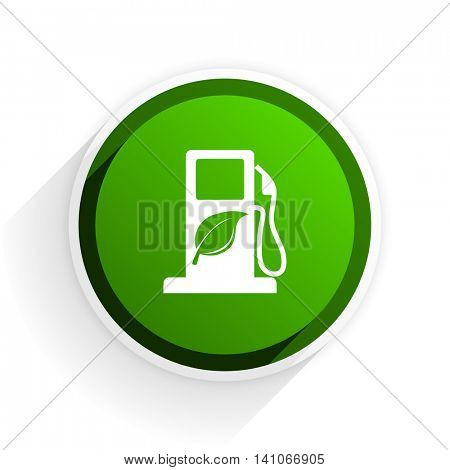 biofuel flat icon with shadow on white background, green modern design web element
