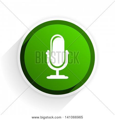 microphone flat icon with shadow on white background, green modern design web element