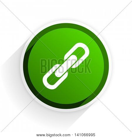 link flat icon with shadow on white background, green modern design web element