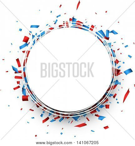 Round background with red and blue confetti. Vector illustration.