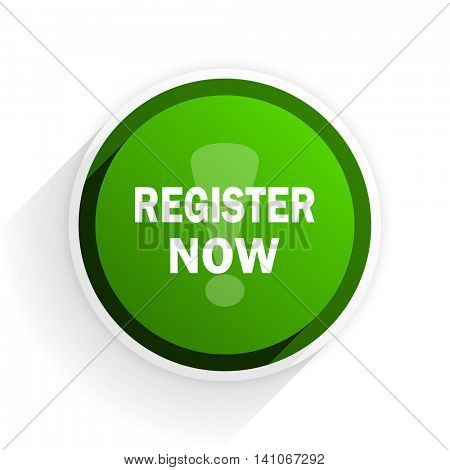 register now flat icon with shadow on white background, green modern design web element