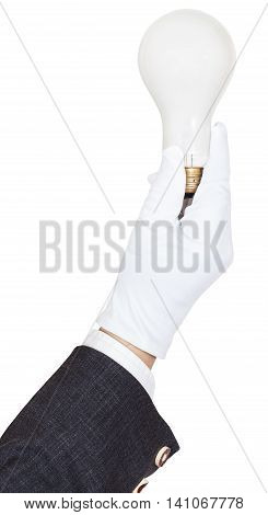 Hand In Business Suit And Glove Holds Bulb Light