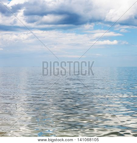 Waterscape With Blue Sky And Calm Water Azov Sea