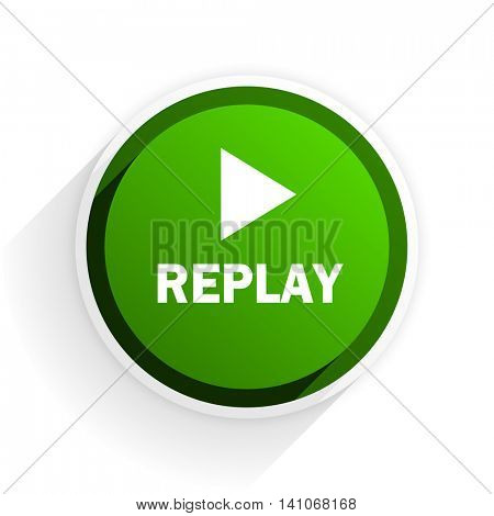 replay flat icon with shadow on white background, green modern design web element