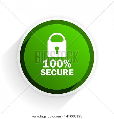 secure flat icon with shadow on white background, green modern design web element