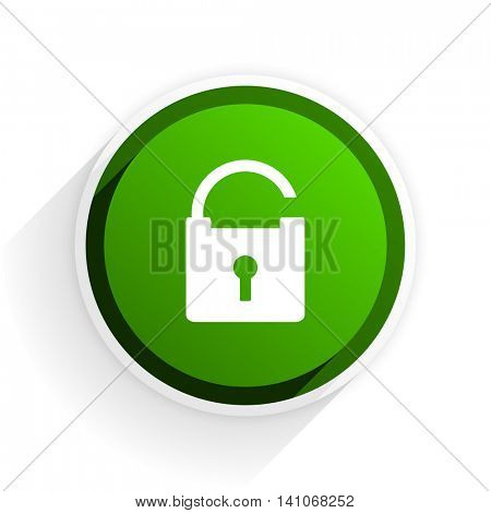 padlock flat icon with shadow on white background, green modern design web element