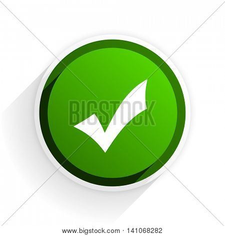 accept flat icon with shadow on white background, green modern design web element