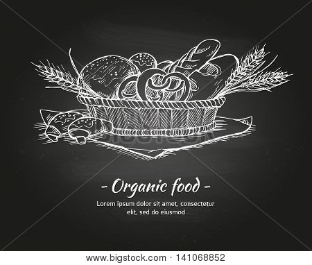 Hand Drawn Vintage Vector Illustration - Bakery Shop. Basket With Pastry. Organic Food.