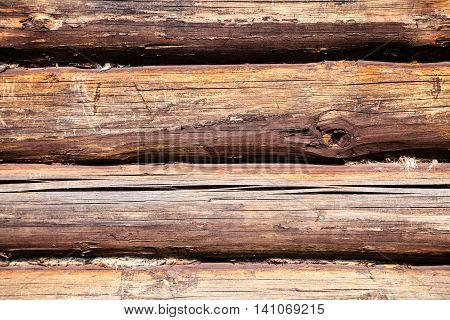 wood texture - old oak logs of country house wall