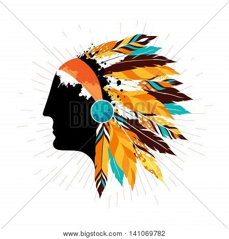 Native american men in tribal headdress. Authentic poster with silhouette of indigenous warrior.