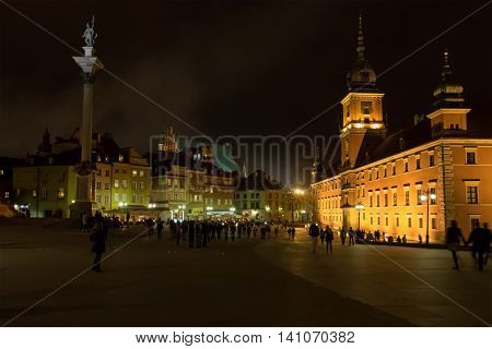 Nighttime at Plac Zamkowy in the old town of Warsaw Poland