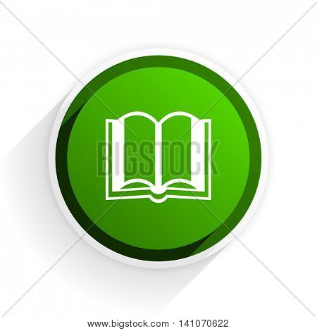 book flat icon with shadow on white background, green modern design web element