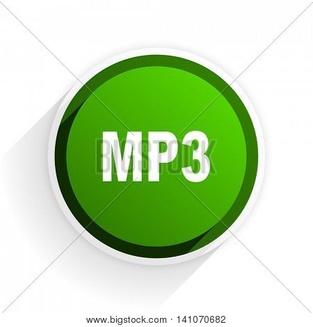 mp3 flat icon with shadow on white background, green modern design web element