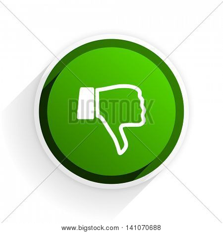 dislike flat icon with shadow on white background, green modern design web element