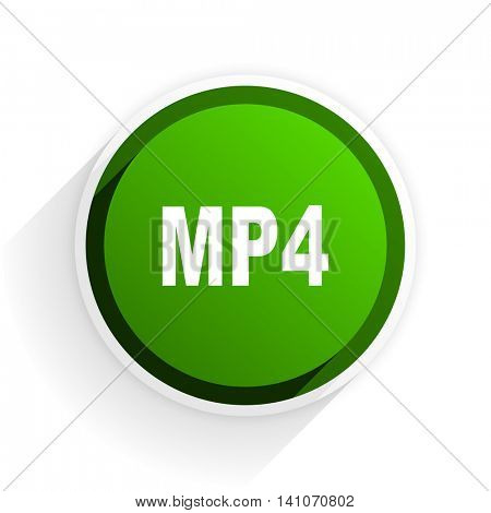 mp4 flat icon with shadow on white background, green modern design web element
