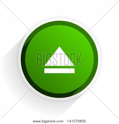 eject flat icon with shadow on white background, green modern design web element