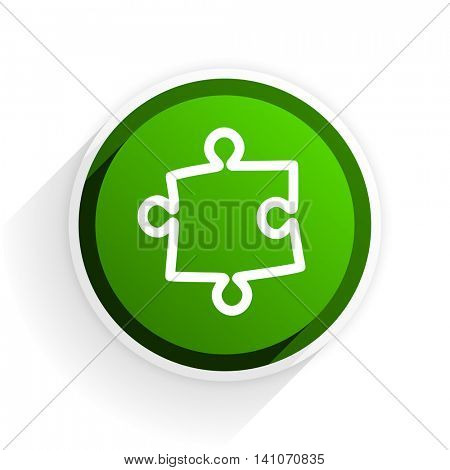 puzzle flat icon with shadow on white background, green modern design web element