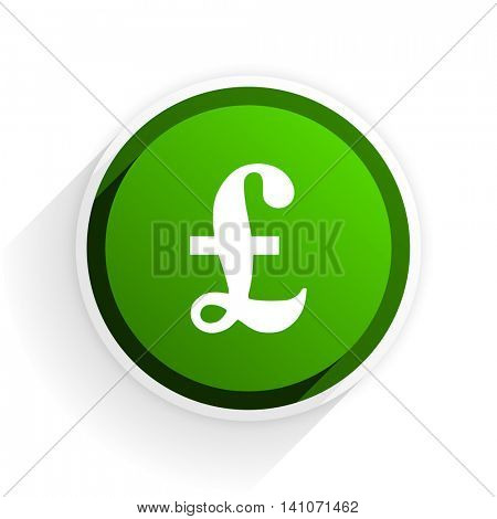 pound flat icon with shadow on white background, green modern design web element