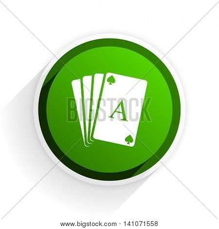 card flat icon with shadow on white background, green modern design web element