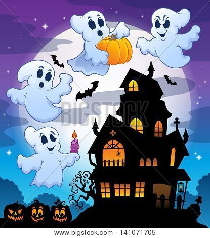 Haunted house silhouette theme image 3 - eps10 vector illustration.
