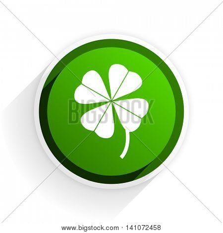 four-leaf clover flat icon with shadow on white background, green modern design web element