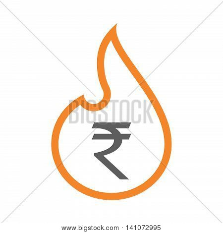 Isolated Line Art Flame Icon With A Rupee Sign