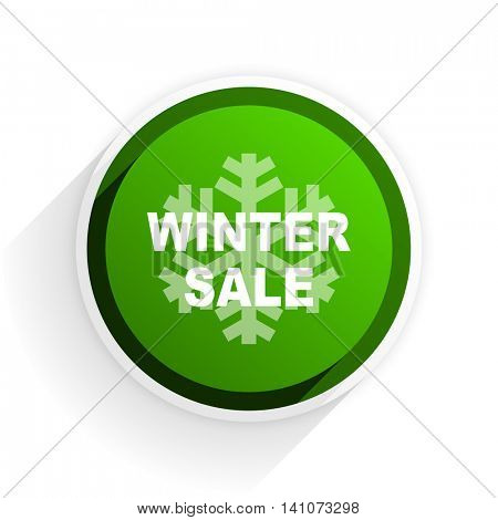 winter sale flat icon with shadow on white background, green modern design web element