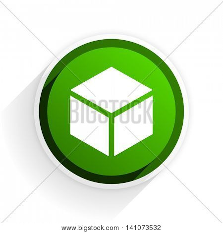 box flat icon with shadow on white background, green modern design web element