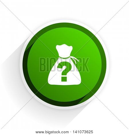 riddle flat icon with shadow on white background, green modern design web element