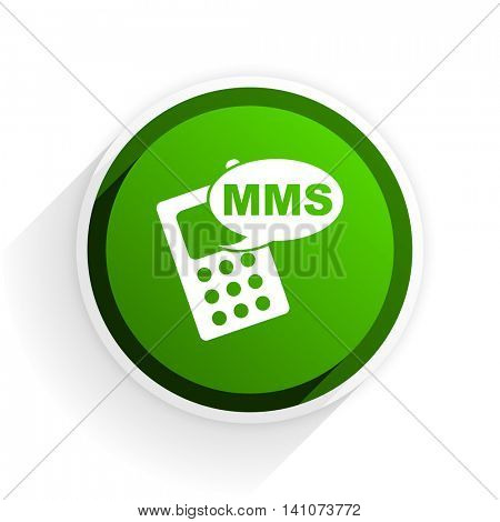 mms flat icon with shadow on white background, green modern design web element