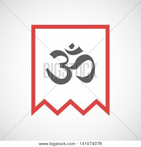 Isolated Line Art Ribbon Icon With An Om Sign