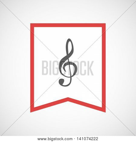 Isolated Line Art Ribbon Icon With A G Clef