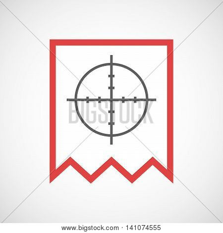 Isolated Line Art Ribbon Icon With A Crosshair