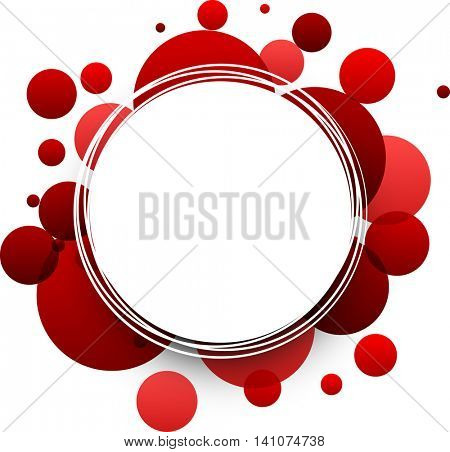Paper round red abstract background. Vector illustration.