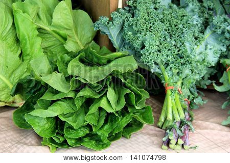 Leafy vegetables on table at farmers market