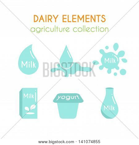 Vector dairy illustrations. Milk and yogurt icons design. Milk drops. Farm fresh products set. Dairy drinks in bottles. Flat argiculture collection.