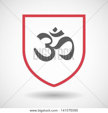 Isolated Line Art Shield Icon With An Om Sign
