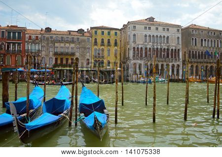 Picturesque view of Gondolas. Moored gondolas in Venice, Italia.