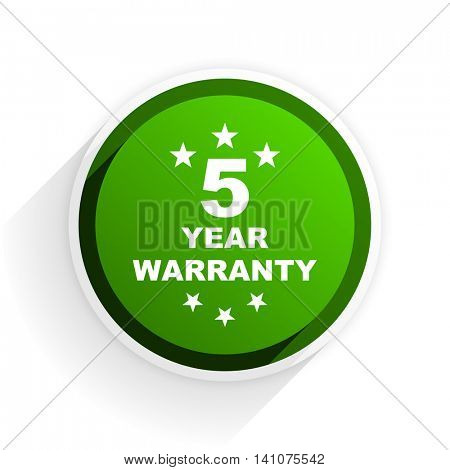 warranty guarantee 5 year flat icon with shadow on white background, green modern design web element
